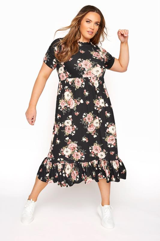 Plus Size  LIMITED COLLECTION Blush Rose Floral Tiered Midaxi Smock Dress