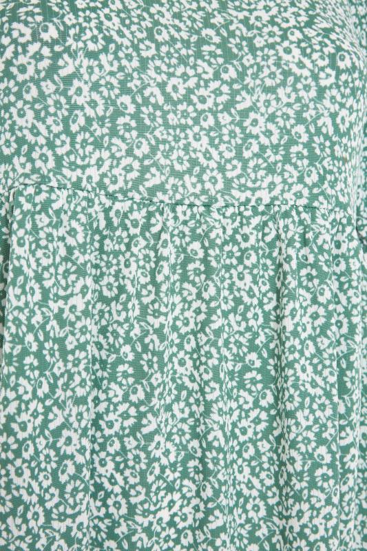 Sage Green Floral Frill Hem Midi Dress_S.jpg
