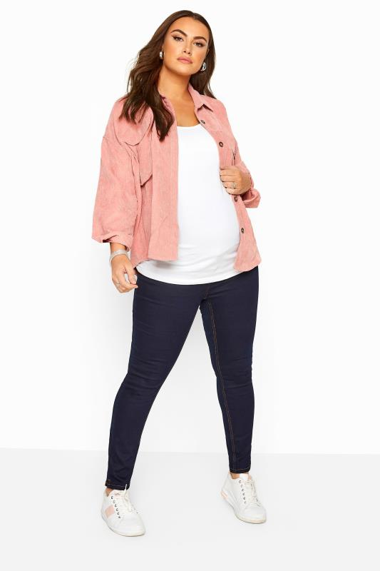 Plus Size Maternity Jeans & Jeggings BUMP IT UP MATERNITY Indigo Blue Skinny Jeans With Comfort Panel
