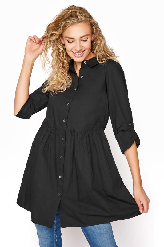 Tall  LTS Black Smock Turn Up Sleeve Cotton Shirt