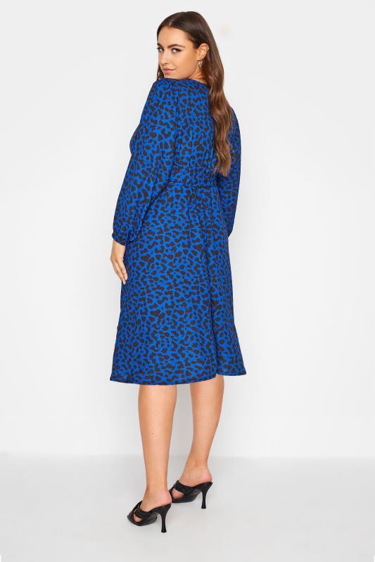 YOURS LONDON Cobalt Blue Animal Print Wrap Midi Dress_C.jpg