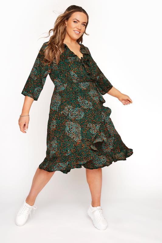 YOURS LONDON Green Animal Print Wrap Dress