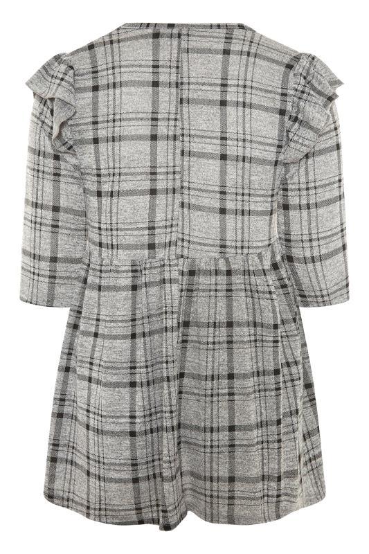 Grey Check Frill Knitted Peplum Top_BK.jpg