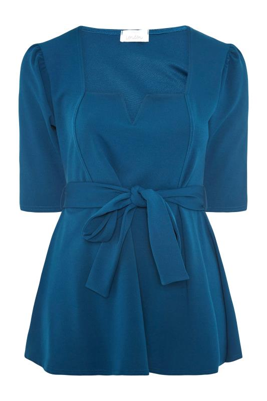 YOURS LONDON Teal Blue Notch Neck Belted Peplum Top_F.jpg