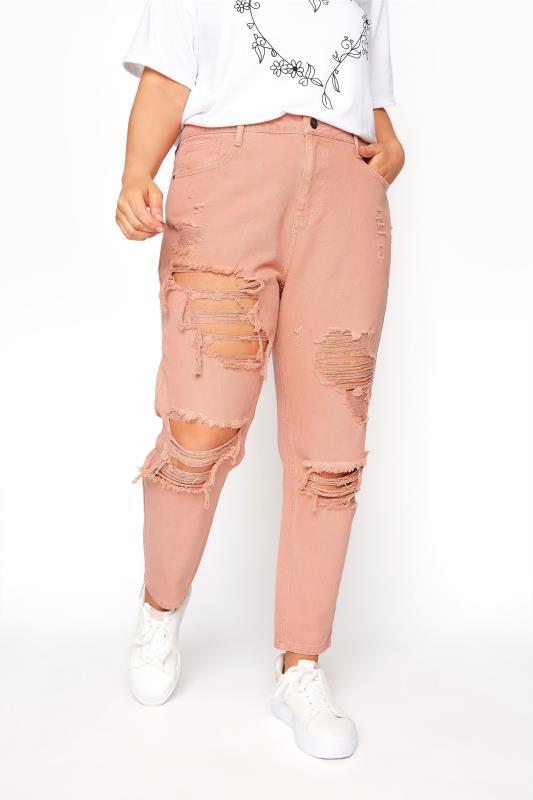 Blush Pink Extreme Distressed MOM Jeans_B.jpg