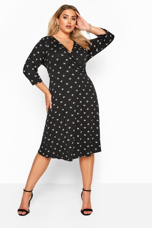 Plus Size Casual / Every Day YOURS LONDON Black Butterfly Print Wrap Dress