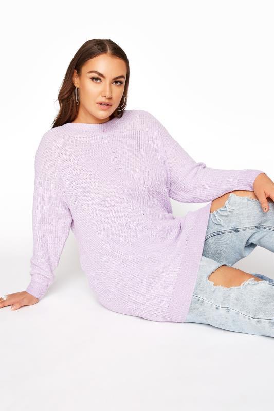 Tallas Grandes Lilac Longline Knitted Jumper