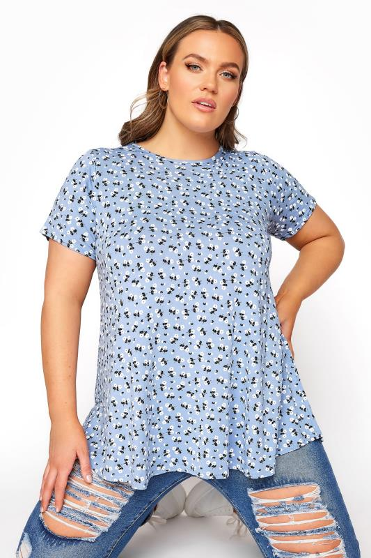 Plus Size  LIMITED COLLECTION Light Blue Ditsy Floral Swing Top