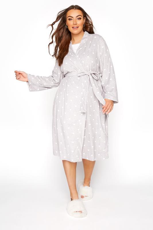 Plus Size  Grey Flannel Fleece Heart Dressing Gown