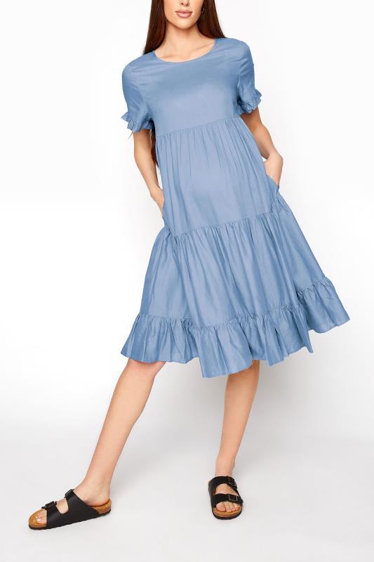 LTS Maternity Blue Linen-Blend Multi-Tiered Dress