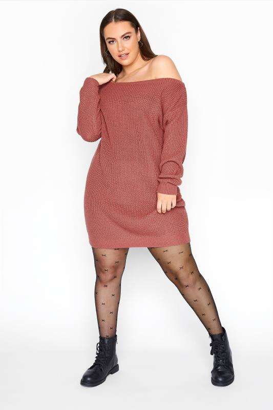 Plus Size  Pink Bardot Knitted Jumper Dress