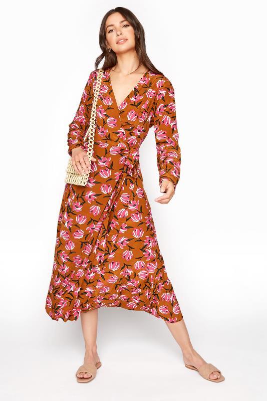 Brown Floral Print Wrap Midi Dress_B.jpg