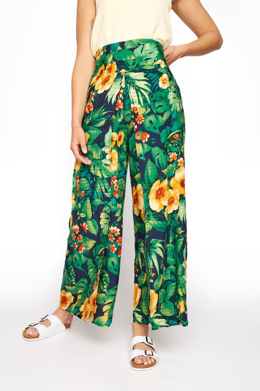 LTS Green Tropical Print Overlay Wide Leg Trousers