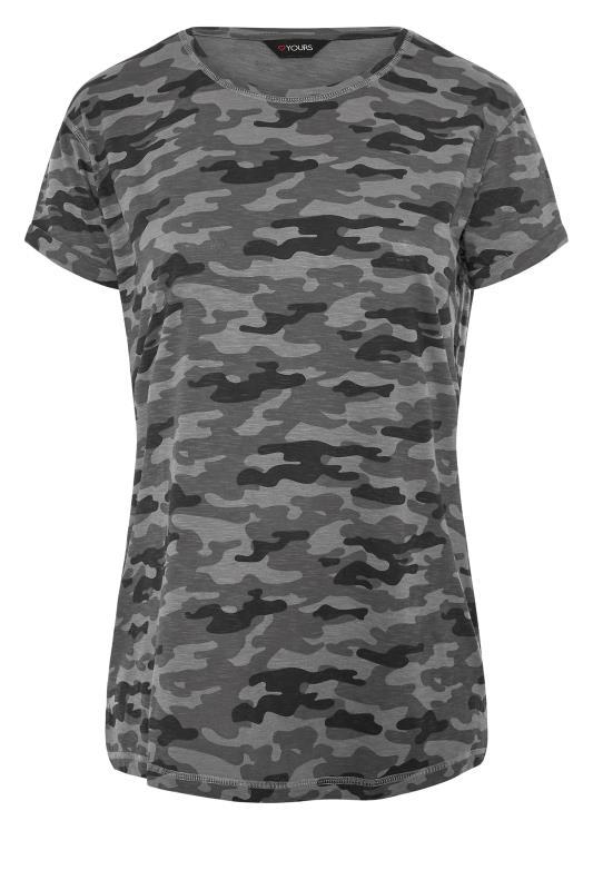 Großen Größen  Grey Camo Print T-Shirt