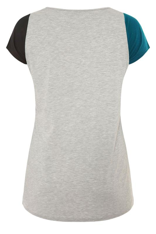 LIMITED COLLECTION Teal Colour Block T-Shirt_BK.jpg