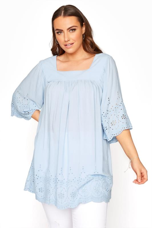 Plus Size  Pale Blue Milkmaid Broderie Anglaise Top
