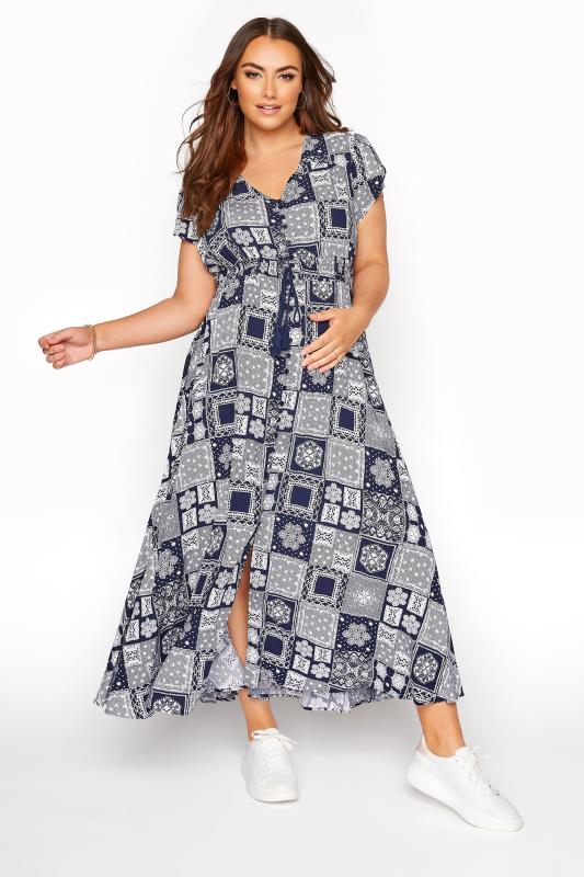 Plus Size  BUMP IT UP MATERNITY Dark Blue Tile Print Maxi Dress