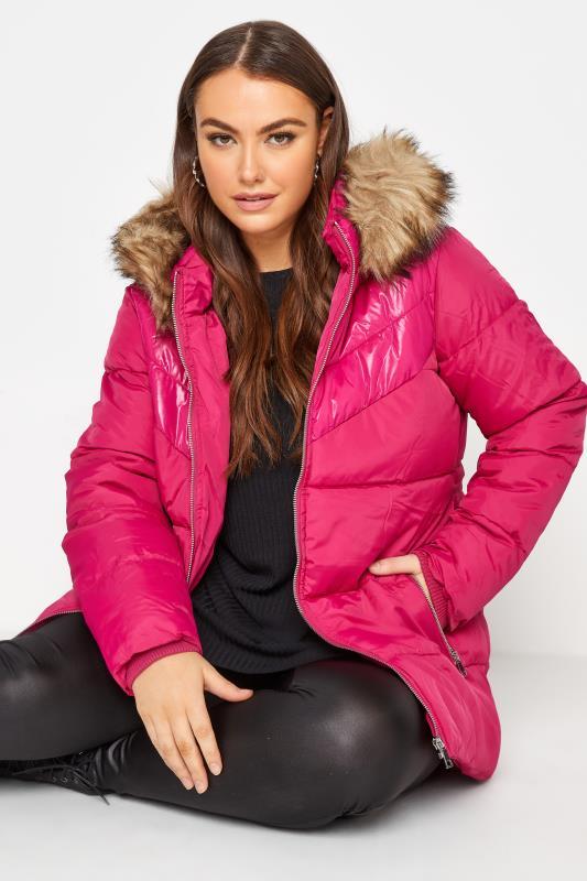 Plus Size  Pink PU Panel Puffer Coat