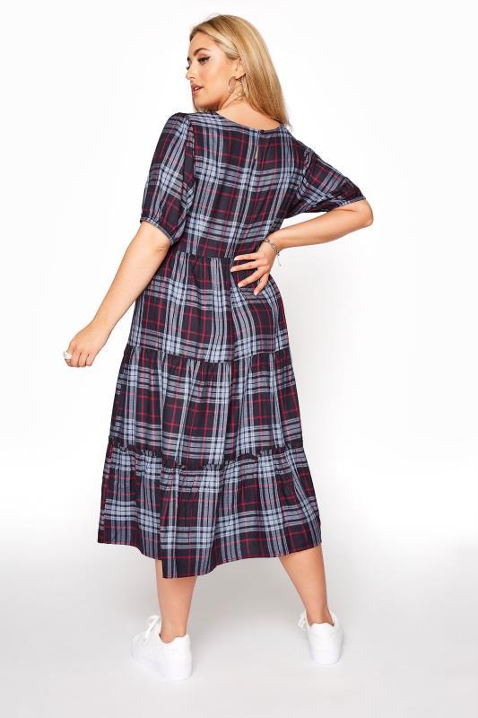 Navy Plaid Puff Sleeve Smock Midaxi dress_C.jpg