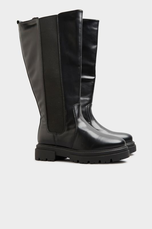 LIMITED COLLECTION Black Elasticated Knee High Cleated Boots In Extra Wide Fit_C.jpg