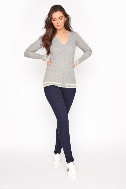 Grey Marl Stripe Hem Ribbed Sweater_B.jpg