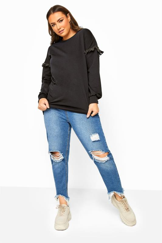 Black Stud Tassel Sleeve Sweatshirt