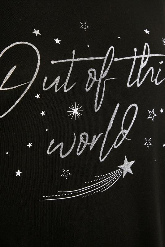 Black Glitter 'Out Of This World' Slogan Pyjama Set