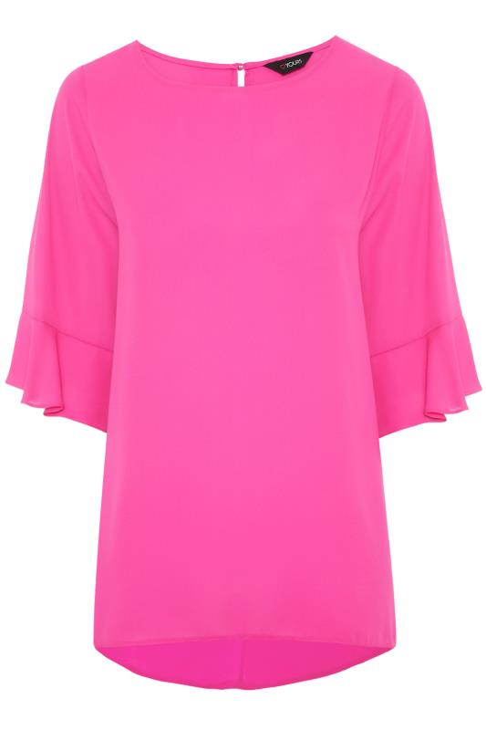 Plus Size  Bright Pink Flute Sleeve Tunic