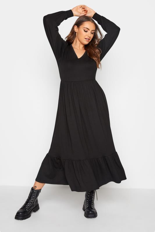 LIMITED COLLECTION Black Smock Midi Dress_A.jpg