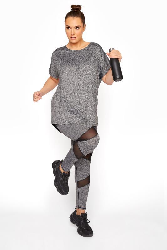 Plus Size  ACTIVE Grey Marl Mesh Insert Leggings