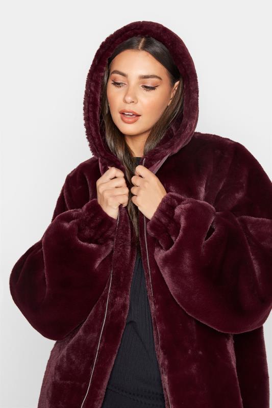 LTS Wine Red Oversized Faux Fur Jacket_D.jpg