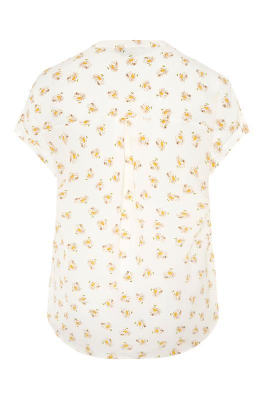 White Daisy Print Short Sleeve Dipped Hem Blouse_BK.jpg