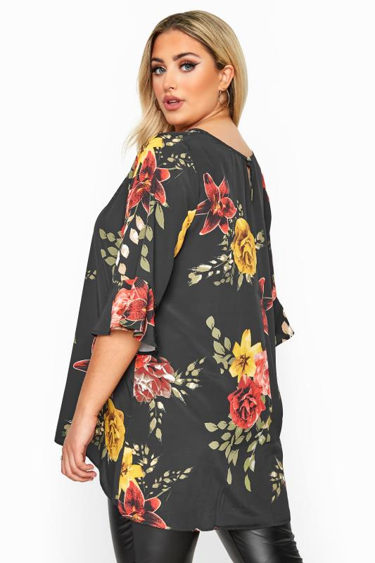 YOURS LONDON Black & Red Floral Flute Sleeve Tunic
