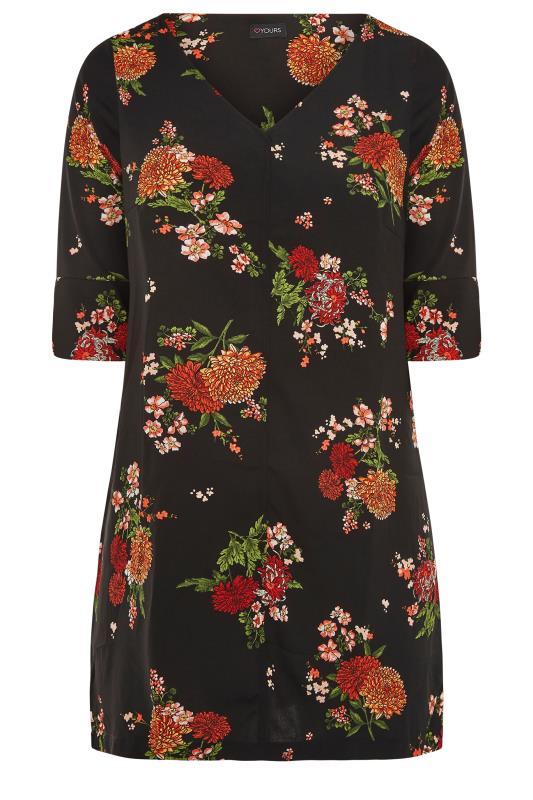 Black Oriental Floral Print V-Neck Shift Dress_F.jpg