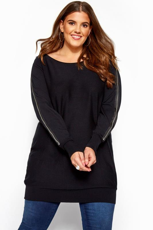 Knitted Tops & Jumpers Black Zip Knitted Tunic