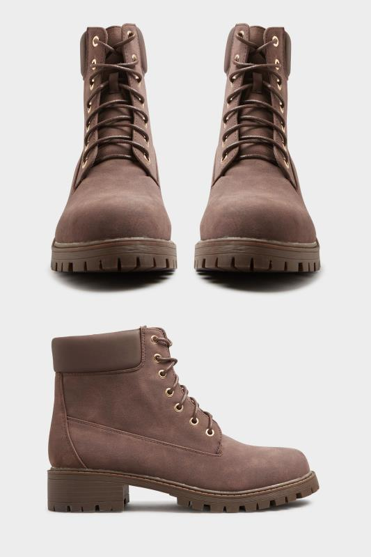 Chocolate Brown Chunky Lace Up Boots In Extra Wide Fit_A.jpg