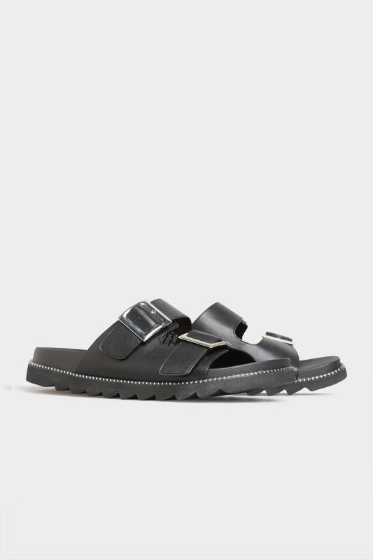 LIMITED COLLECTION Black Stud Buckle Sandal In Extra Wide Fit_B.jpg