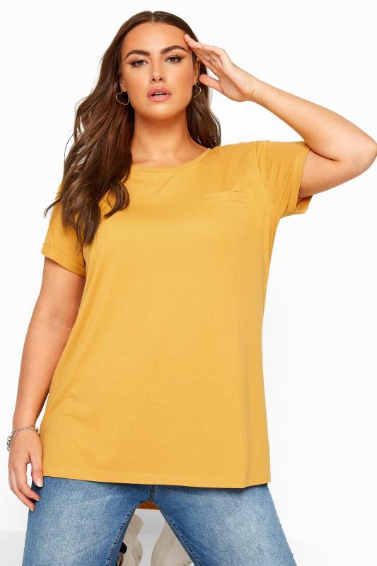 Mustard Yellow Mock Pocket Dipped Hem T-Shirt