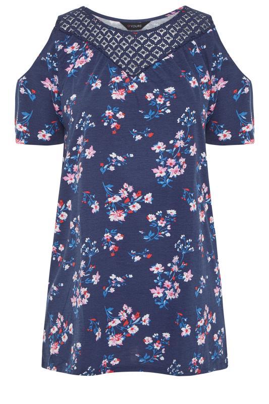 Navy Floral Lace Yoke Cold Shoulder Top_f.jpg