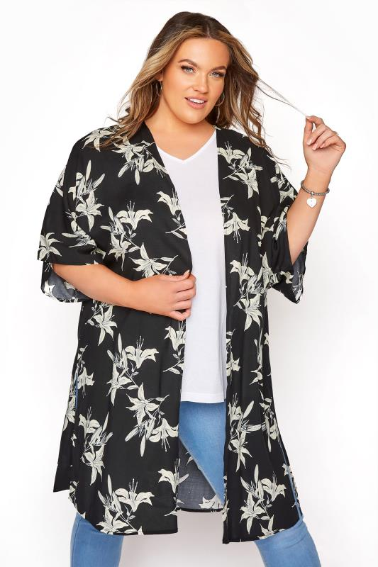Plus Size  YOURS LONDON Black Floral Longline Kimono
