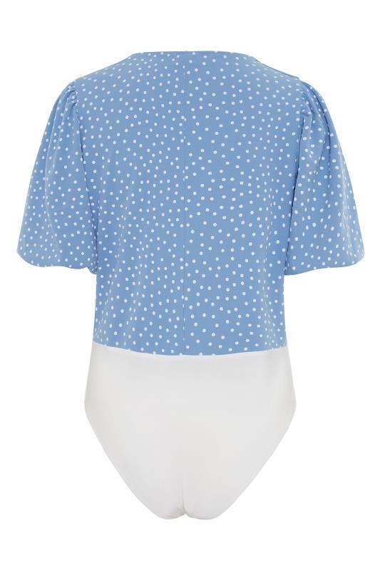 YOURS LONDON Blue Spot Puff Sleeve Bodysuit_BK.jpg