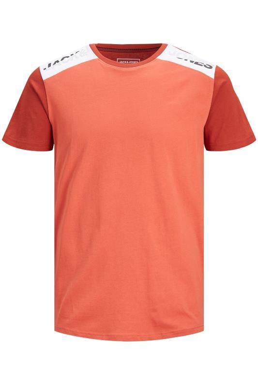 Men's  JACK & JONES Orange Amin Crew Neck T-Shirt