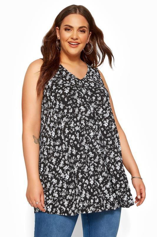 Plus Size Jersey Tops Black Ditsy Floral Swing Vest Top