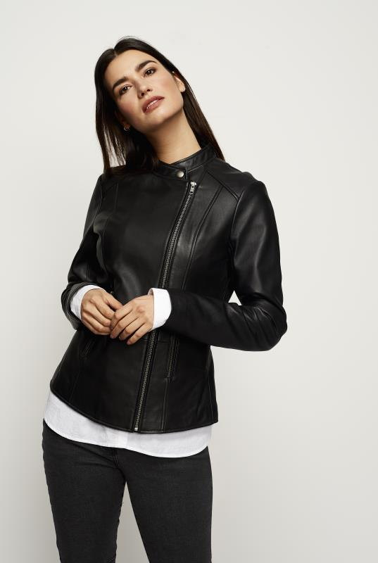 Tall Jackets Collar Detail Leather Jacket