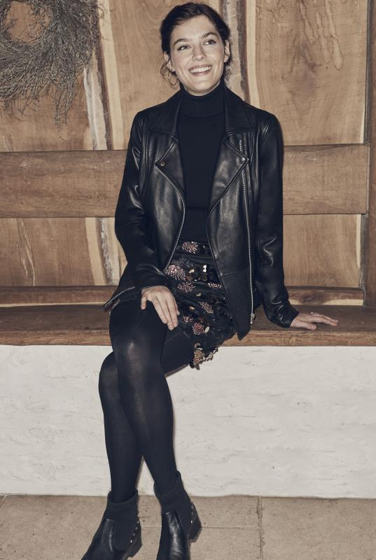 Tall Jackets Black Detachable Borg Collar Leather Jacket