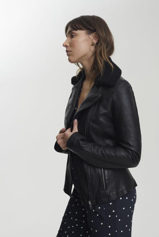 Black Detachable Borg Collar Leather Jacket