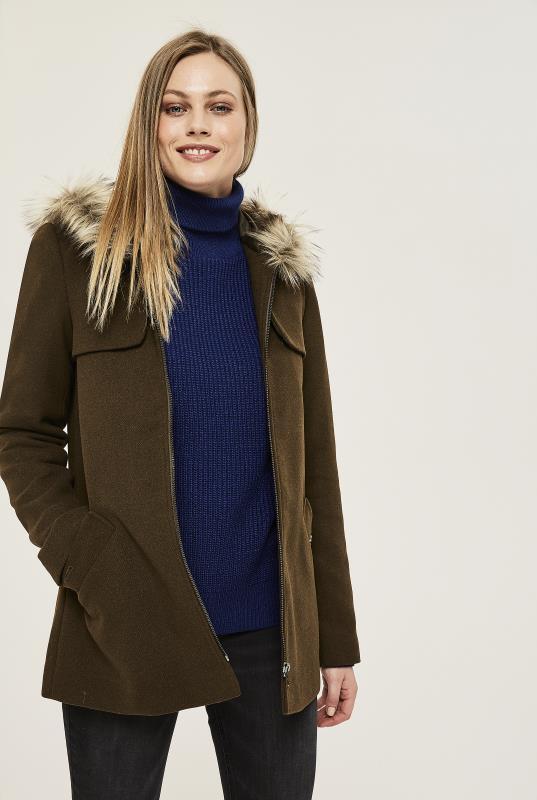 Duffle Coat With Faux Fur Trim Hood