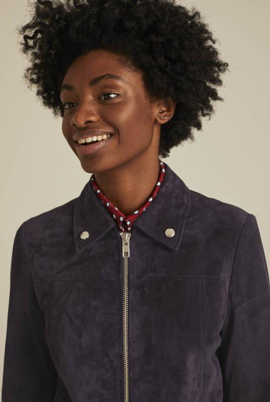 Purple Suede Zip Through Jacket
