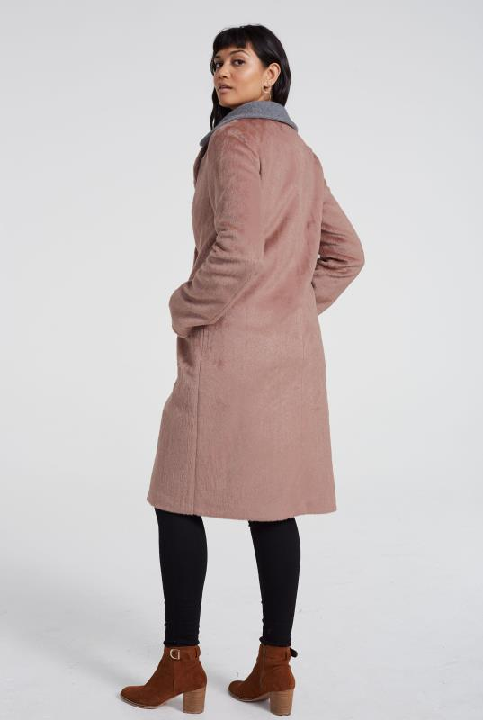 Contrast Collar Faux Fur Coat