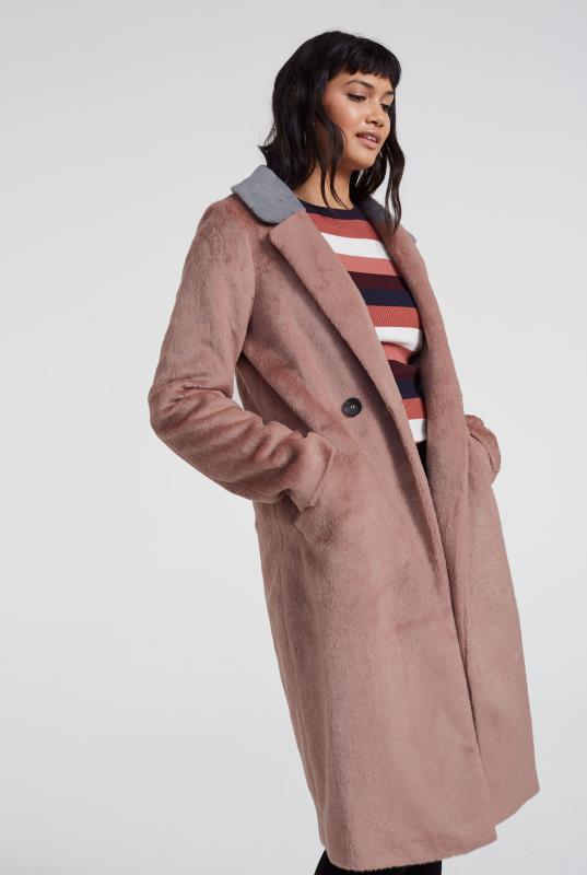 Blush Pink Contrast Collar Faux Fur Coat